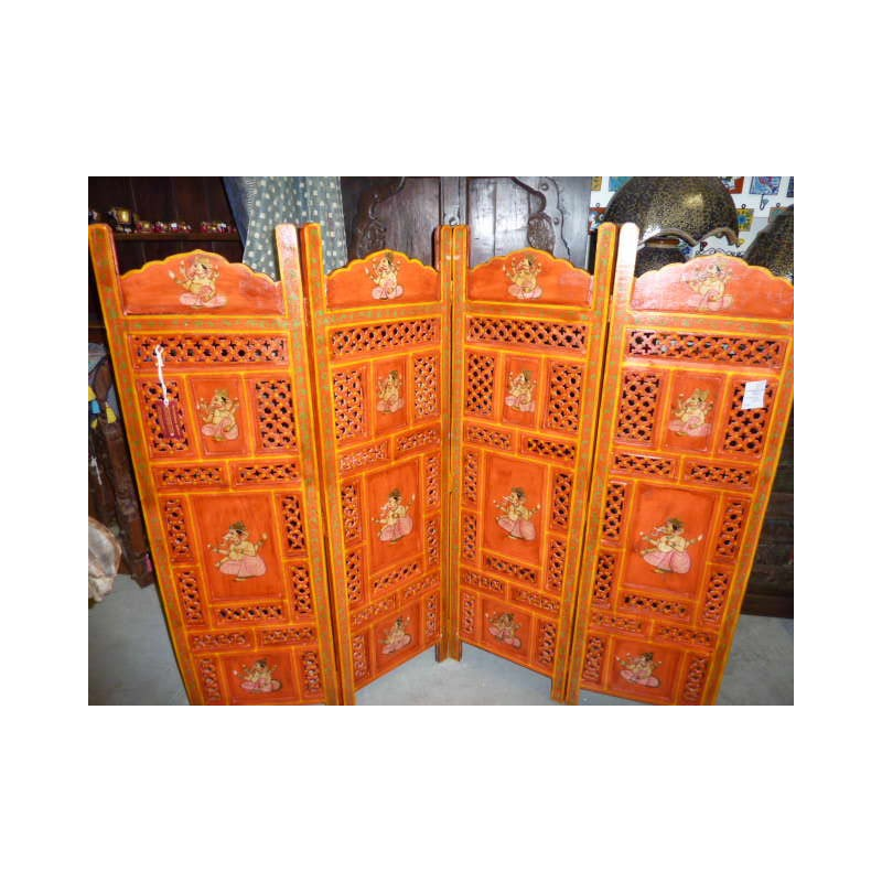 paravent t te de lit lord ganesha orange. Black Bedroom Furniture Sets. Home Design Ideas