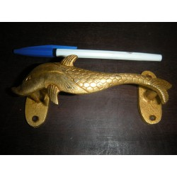 poignée en bronze petit dauphin doré