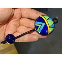 Housse feuillage brodé 40x40 cm orange